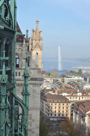Jete D'eau from St. Pierre's Cathedral - Geneva Switzerland